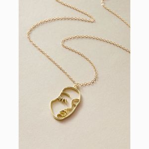 Dainty Gold Delicate Hollow Face Pendant Necklace